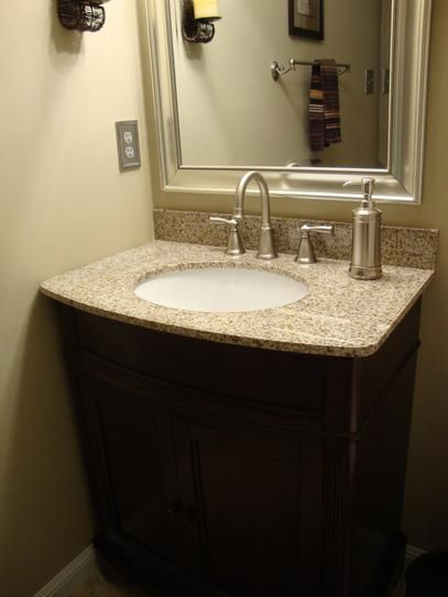 Home Decorators Collection Terryn 31 In W X 35 In H X 20 In D Vanity In Cherry With Granite Vanity Top In Beige With White Basin Md V1218 The Home Depot