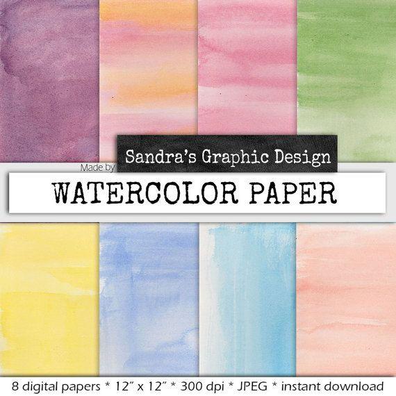Waterverf digital paper WATERVERF met door SandraGraphicDesign
