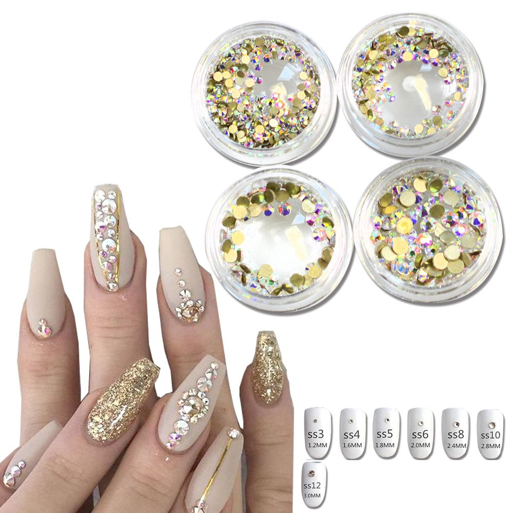 1Bottle Micro SS3-SS12 Gold AB Rhinestones Nails Crystal Flat Back ...