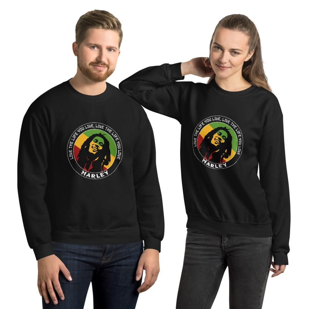 Live the Life You Live Quote by Marley, Men's Quote Sweatshirt - Black / 5XL