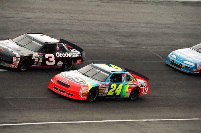 Dale Earnhardt and @JeffGordonWeb battle during the 1994 Winston Cup season.
