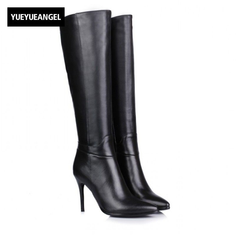 Womens Boots Platform Genuine Leather High Thin Heel Boots Pointed Toe Side  Zipper Knee High Shoes f9229074909a