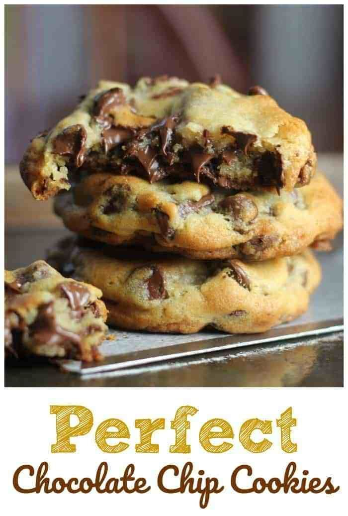 These 'perfect' chocolate chip cookies are completely buttery, chewy, thick and chocked full of rich, semi-sweet chocolate chips. #cookies #chocolate #chocolate chip #desserts #baking