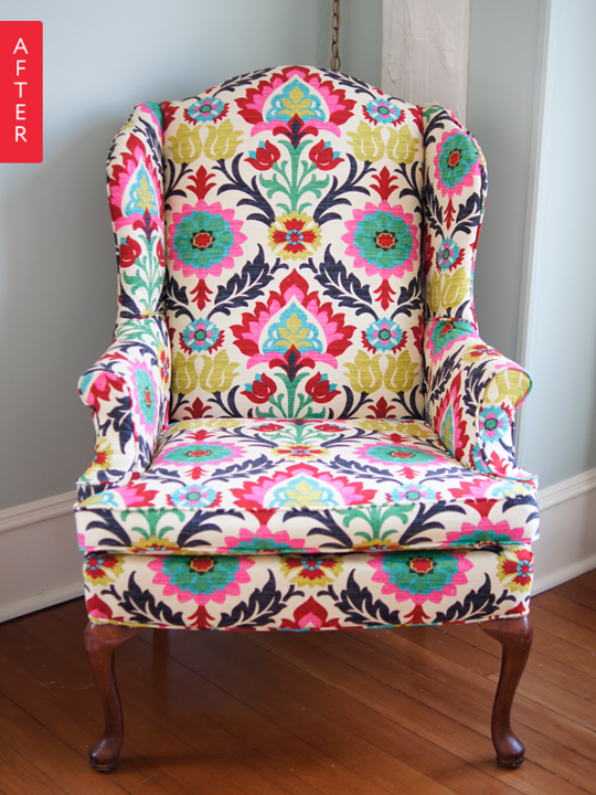 Before After Wingback Chair Gets A Wild Waverly Print