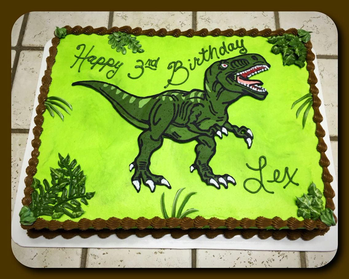TRex sheet cake Rykers Birthday Party Ideas Pinterest