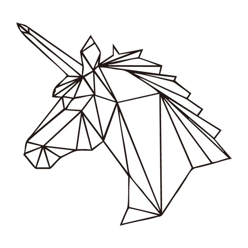 geometric unicorn wall decal sticker unicorn room wall. Black Bedroom Furniture Sets. Home Design Ideas