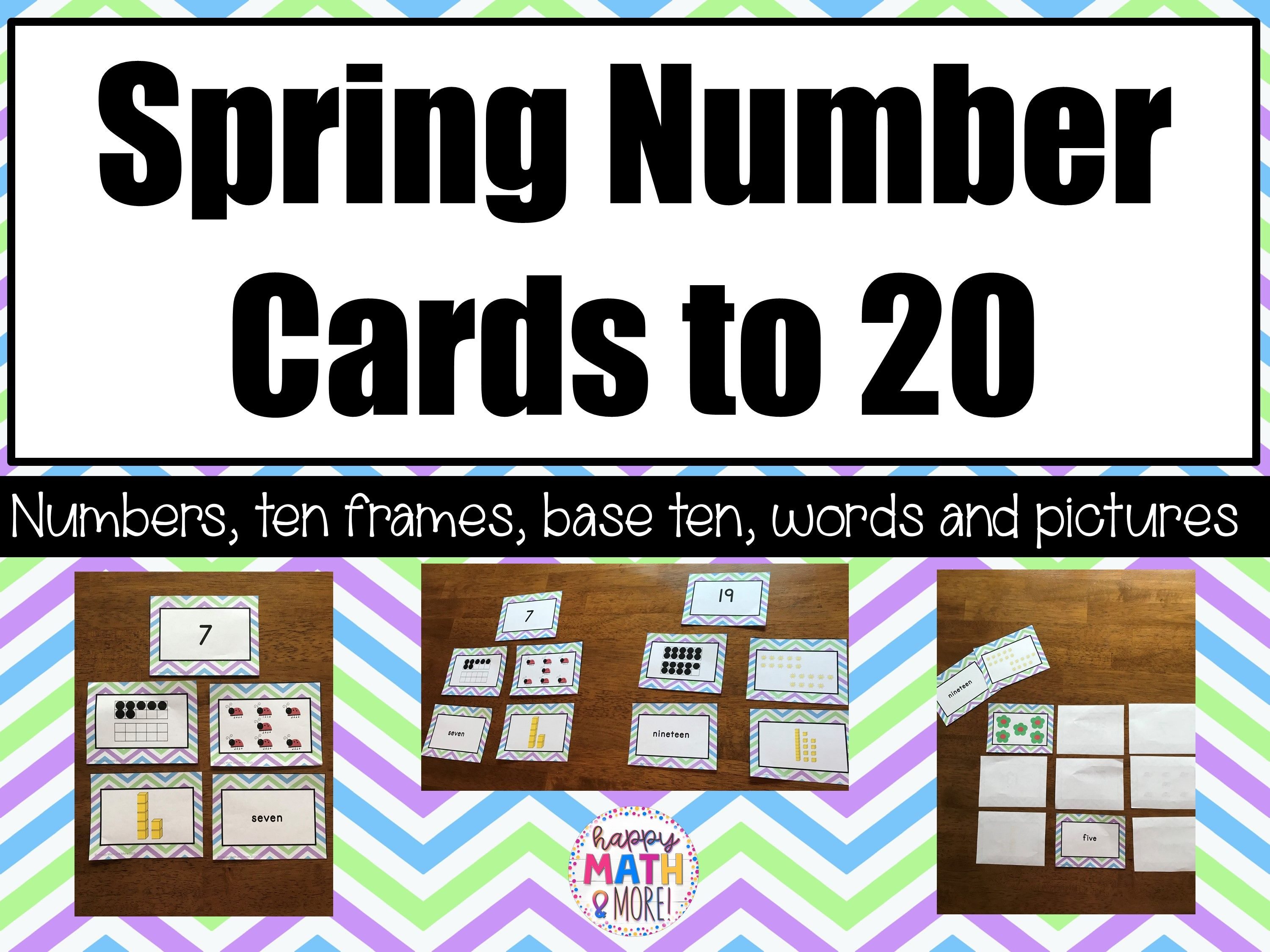 Spring Number Cards To 20