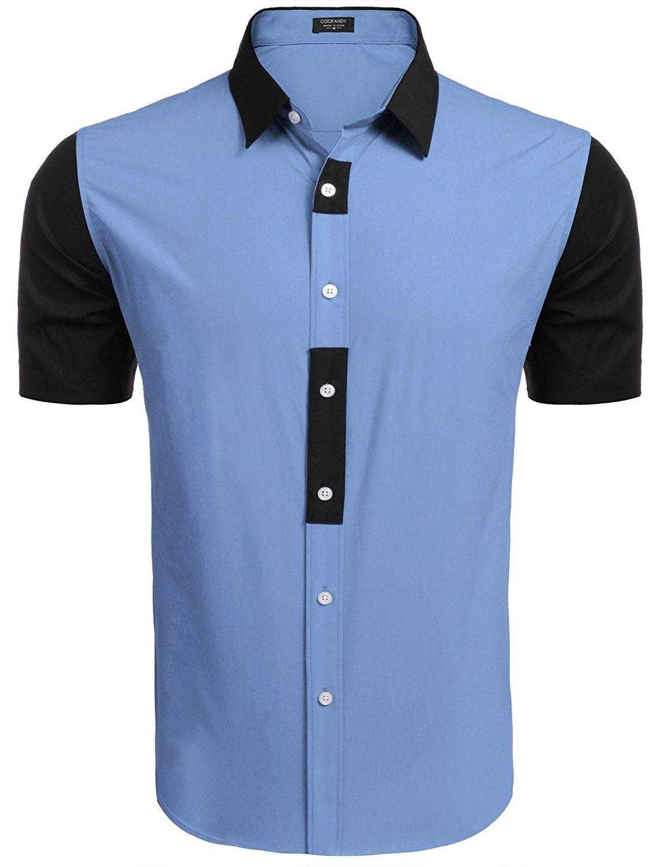 Mens Short Sleeve Slim Fit Button Down Shirt Contrast Color Dress
