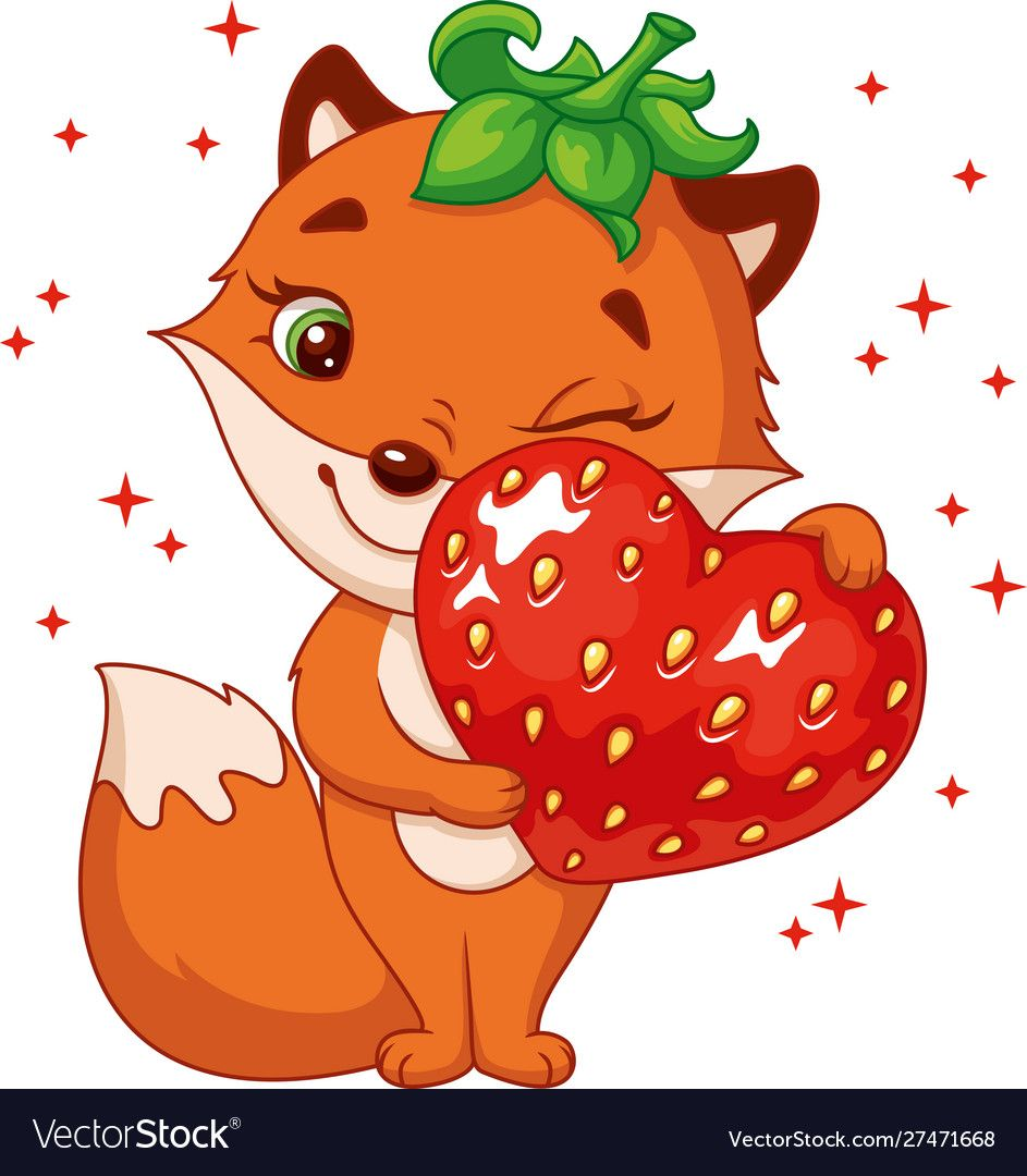Fox With Strawberry Vector Image On In 2020