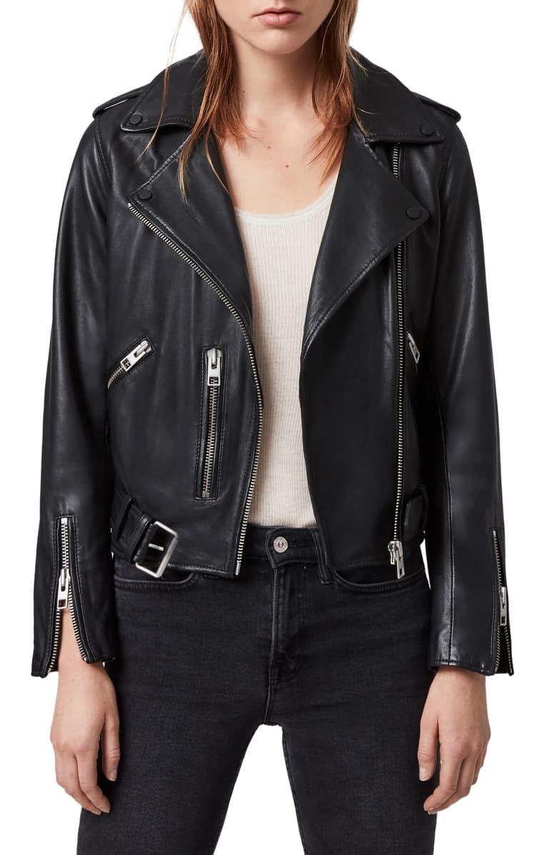 Free Shipping And Returns On Allsaints Balfern Leather Biker Jacket At Nordstrom Com Rock A Classically Cool Lo Denim Jacket Women Leather Jacket Biker Jacket [ 1196 x 780 Pixel ]