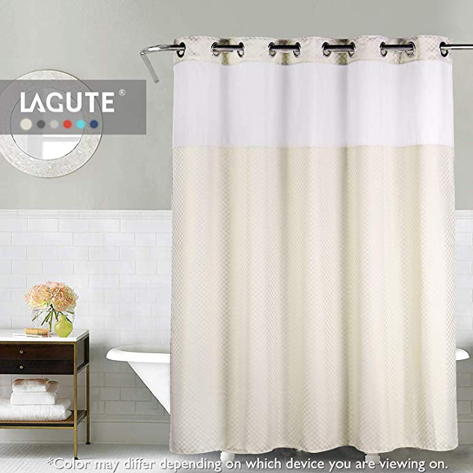 Amazon Com Lagute Snaphook Truecolor Hookless Shower Curtain Removable Liner See Through Top Machine Wash Fabric Shower Curtains Shower Curtain Curtains