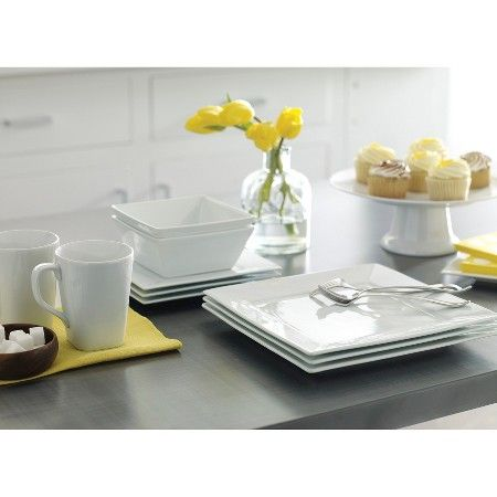 Square Rim Porcelain 16pc Dinnerware Set White - Threshold™  sc 1 st  Pinterest & Square Rim Porcelain 16pc Dinnerware Set White - Threshold ...
