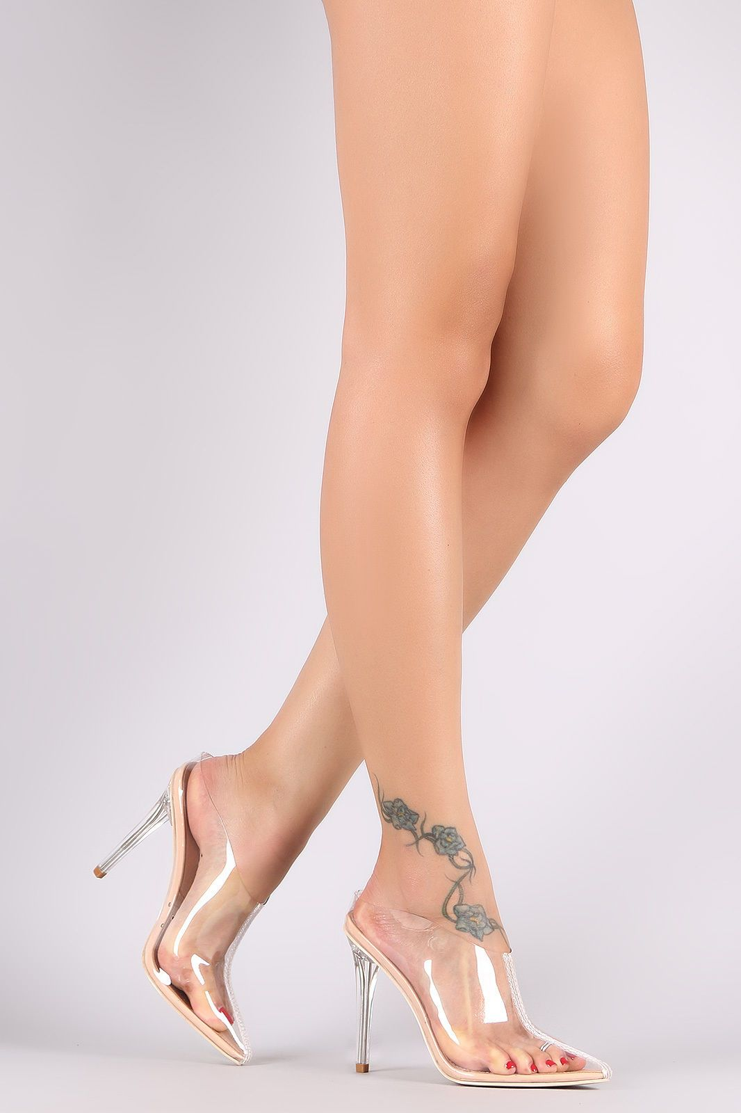 e4bec49aa5 Lucite Perspex Clear Transparent Mules Pointy Toe High Heels Sandals - Nude