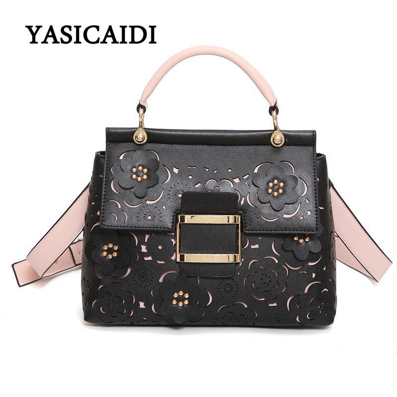 New Brand Hollow Out Flowers Women Handbag Fashion Wide Shoulder Strap  Rivet Shoulder Bag Female Pu · Leather ... 34ca4ab5a08dc