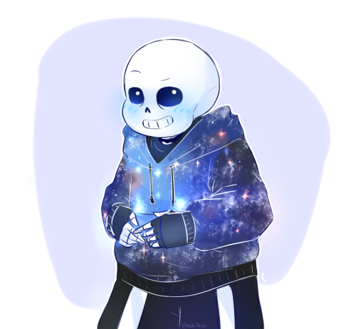 chaotichero: Originally I was going to draw Sans with fingerless glove but I saw these space-cial hoodies and couldn't resist. on another note, how do you draw his head?? it looks different every time I draw it