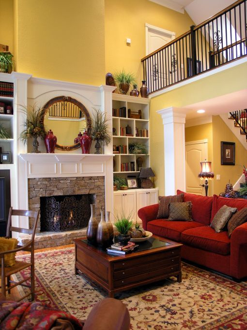 Living Room Balcony Design: Formal Living Room, Two-story Living Room With Fireplace