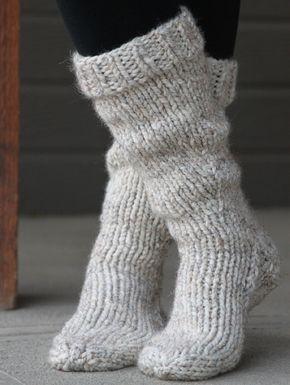 Chunky Boot Socks - Free Pattern | Sock knitting patterns ...