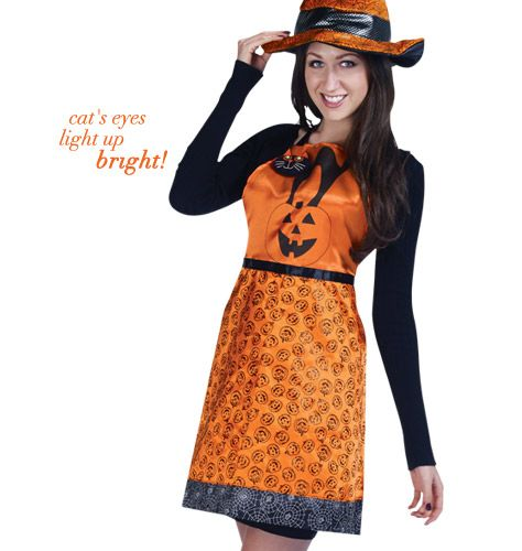 """AVON EXCLUSIVE A festive look for the Halloween party. The cat's eyes light up at the push of a button. 34"""" W x 30 3/4"""" L. Button-cell battery included. Polyester. Spot clean. Imported. item #097000"""
