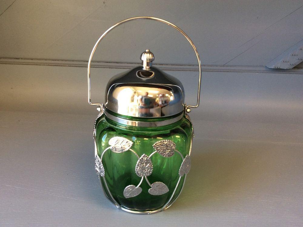 Vintage Green Glass Biscuit Jar Music Box Lid Candy Dish Leaf Motif Elegant