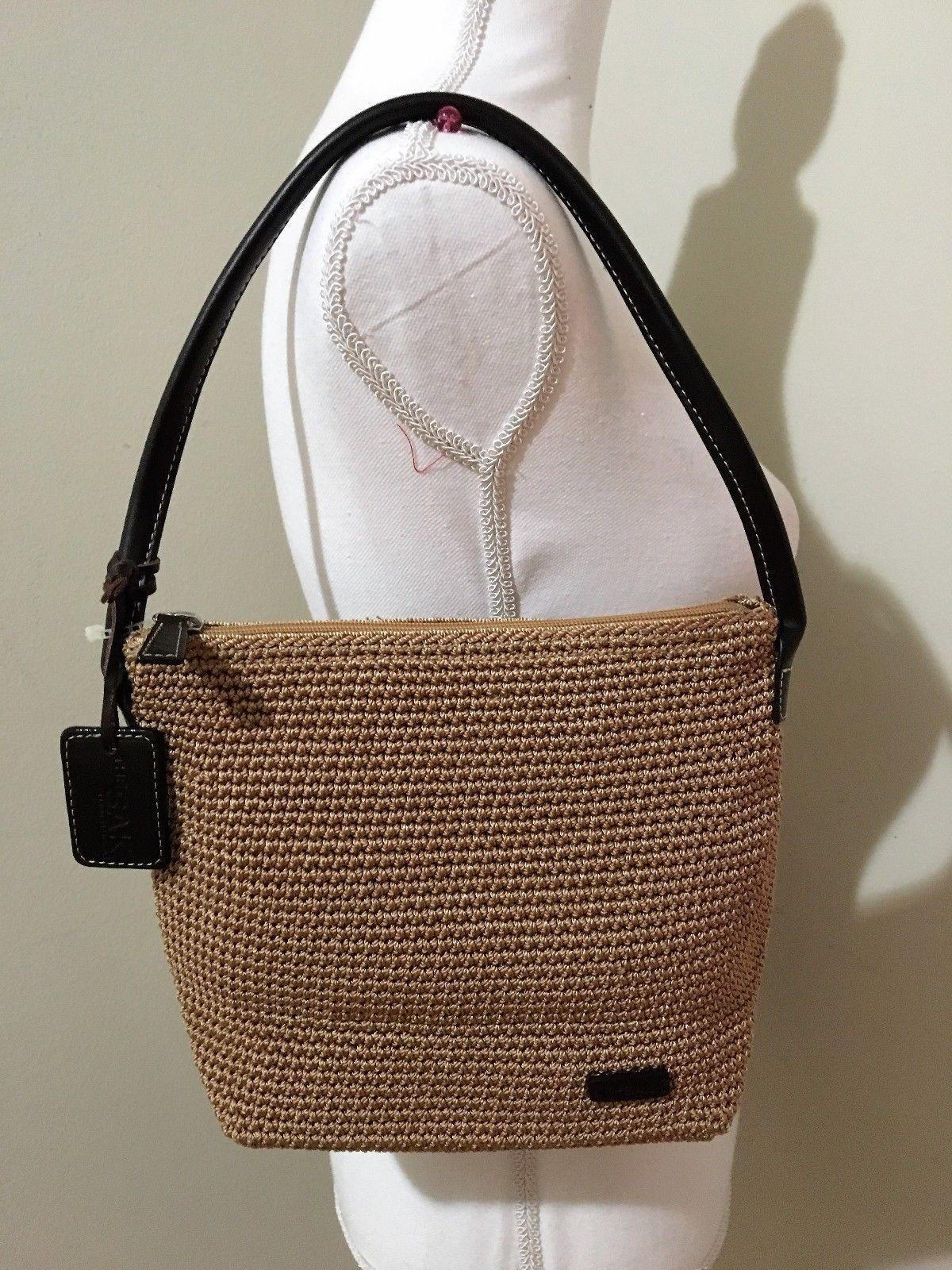 The Sak Bags The Sak Crochet Handbag Purse Navy Blue Red Euc Half