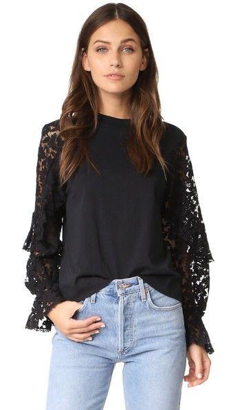 daaf84229d SEE BY CHLOÉ Lace Sleeve Pullover.  seebychloé  cloth  dress  top  shirt   sweater  skirt  beachwear  activewear
