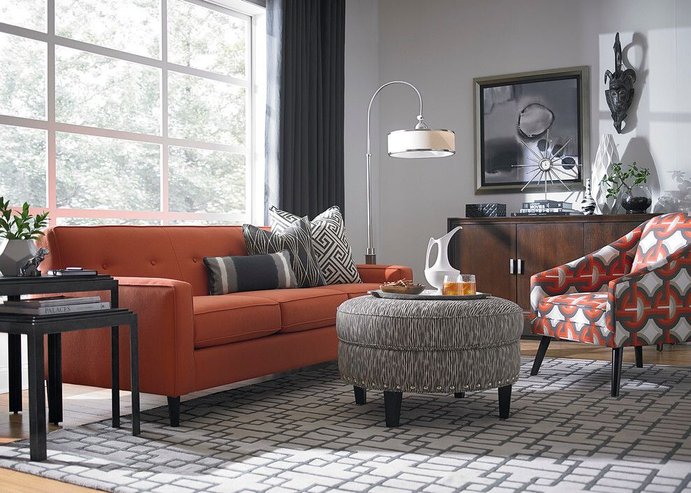 orange and gray living room. Living room  Burnt orange light gray for tv The application of and cool grey in this living set