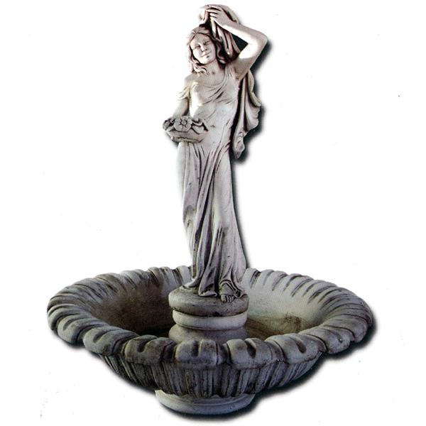 Fontaine en pierre vasque tulipe Femme et Fleurs | Lebonvivre.fr ...