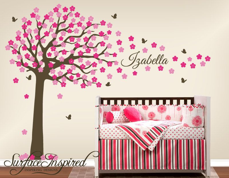 Nursery Wall Decals. Large cherry blossom tree wall decal with custom name  and butterflies. Tree wall decal for baby nursery. 1009