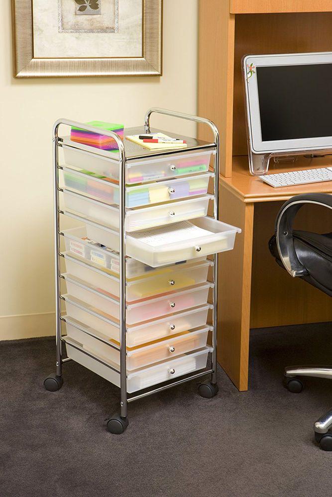 Rolling Storage Cart 10 Drawer Mobile Paper Art Office School Supplies  Organizer #SevilleClassics