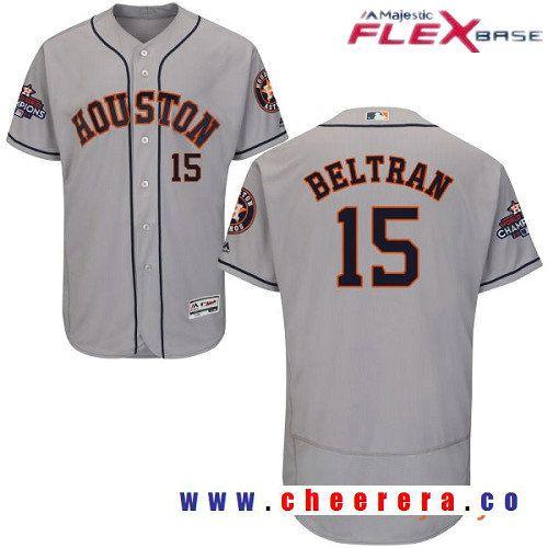 Men's Houston Astros #15 Carlos Beltran Gray Road Majestic Flex Base Stitched 2017 World Series
