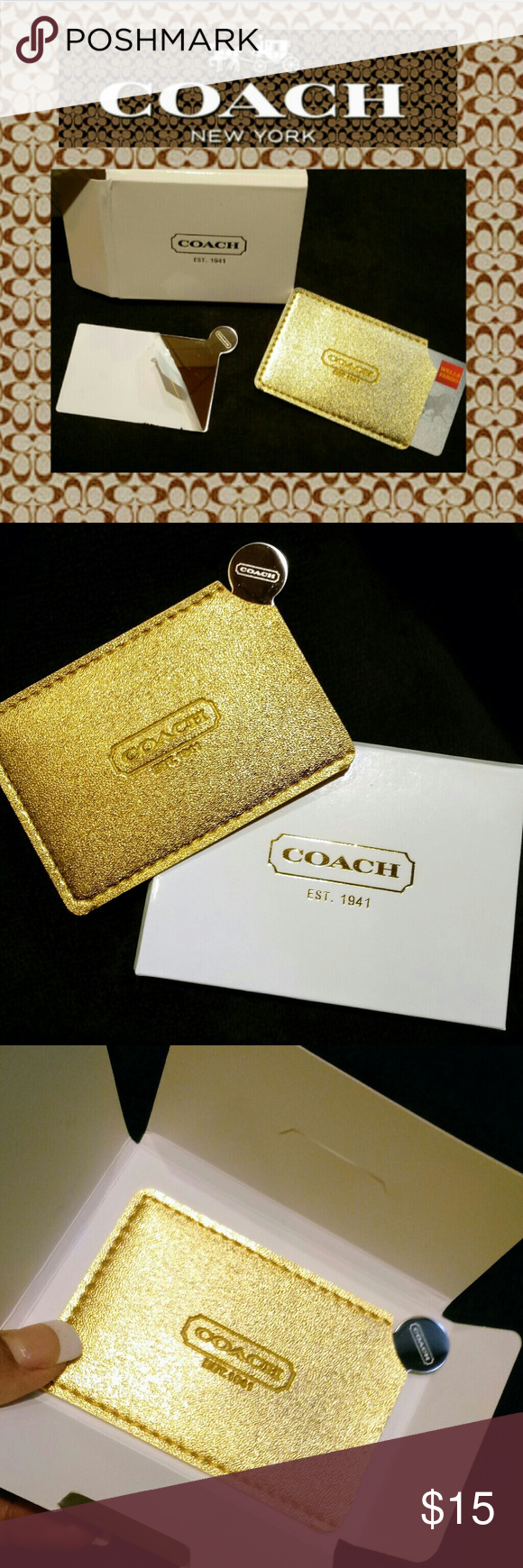 c9521c41b167 Coach Card Accessory Holder   FINAL PRICE New With Box Card Holder   Mirror  Included Color  Gold Coach Accessories