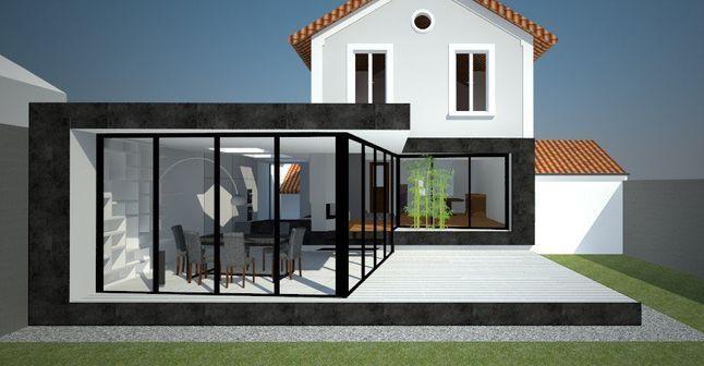 Extension de maison - cuisine sol béton ciré Angers houses - agrandir sa maison sans permis de construire