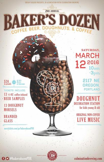Heads up on an awesome beer event:Baker's Dozen Coffee Beers & Doughnuts Festivalon 10 AM - 3 PM on Sat March 12 atCulmination Brewing,