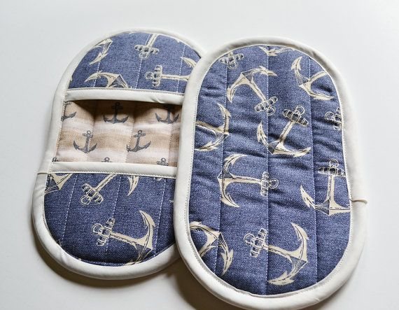 Blue Pot Holders, Nautical Pot Holders, Blue Oven Mitts, Oven Mitts ...