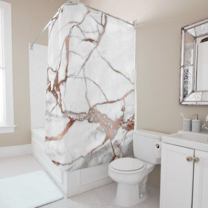 Marble Stone Abstract White Gray Copper Rose Gold Shower Curtain