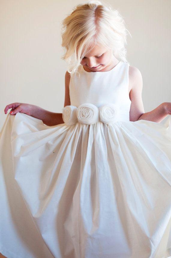 Flower Girl Dress: Rustic flower girl, Bridesmaid dress, natural ...