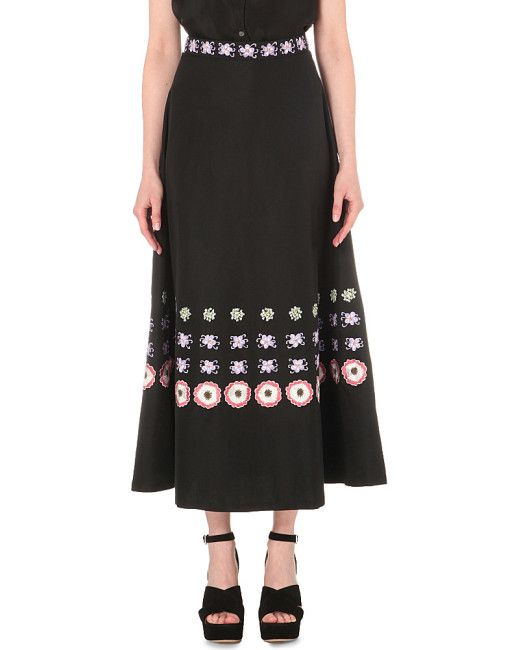 Black Floral-embroidered Cotton-blend Skirt