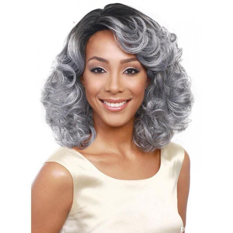 新しい201642センチメートル巻き毛の天然毛かつら女性のための手作りの良質かつら短い髪型髪合成かつらシルバーグレー色