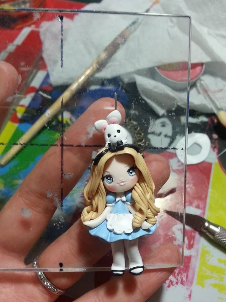 polymer clay ~ alice in wonderlan and rabbit!