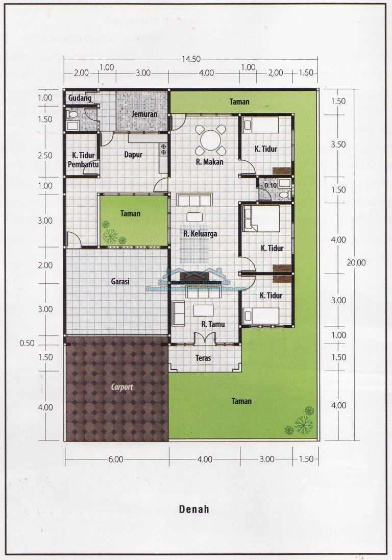 Denah Rumah Minimalis 1 Lantai 3 Kamar Tidur Architecture Di 2019