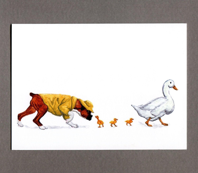 April Showers Springtime Ducklings Boxer Dog Puppy Greeting Card 5x7 Art Print. $4.99, via Etsy.