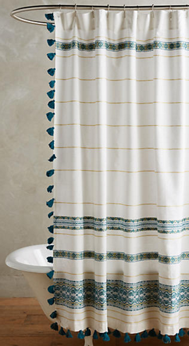 Teal and cream striped shower curtain with tassel fringe