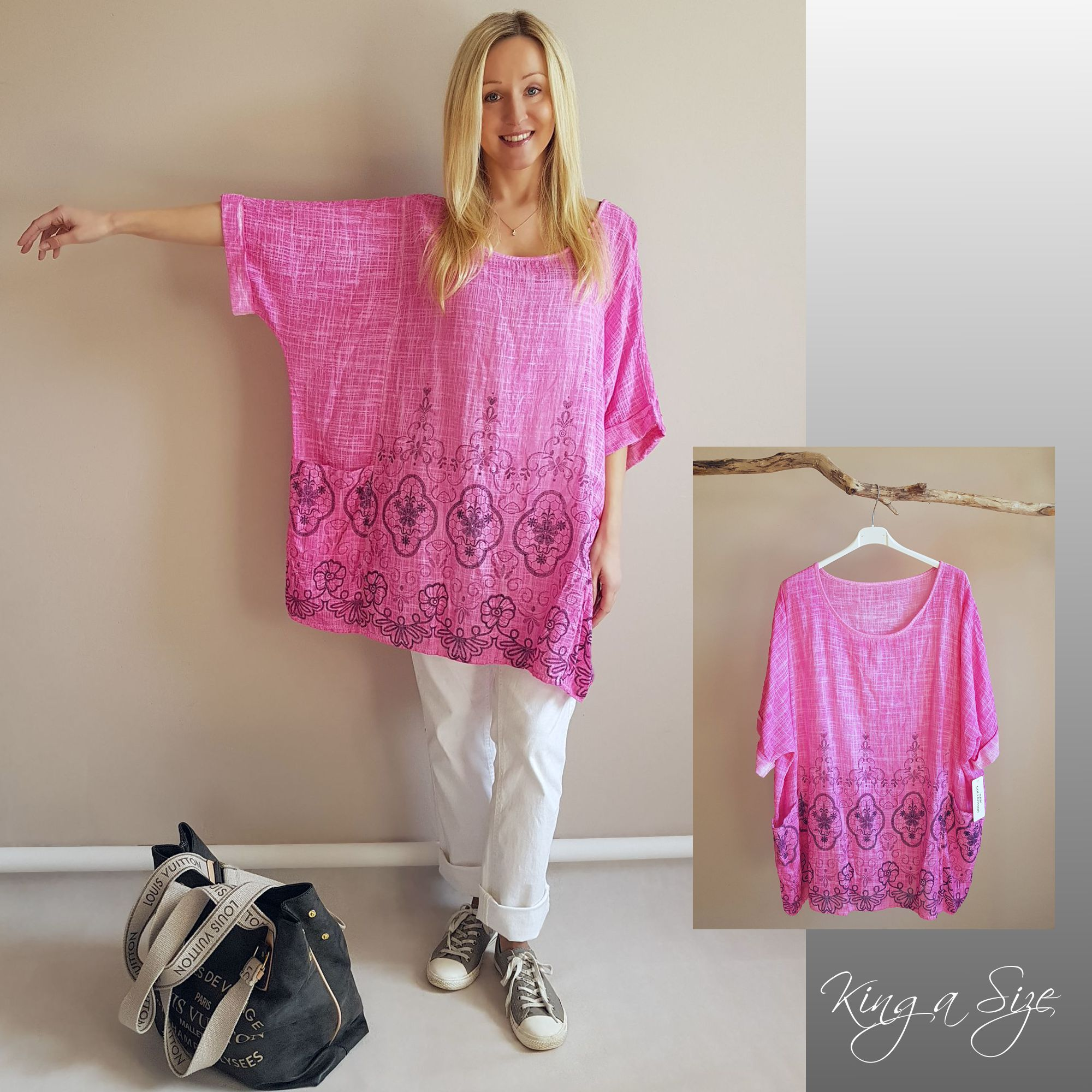 50 Damen Sommer Shirt Tunika kurzarm Baumwolle//Leinen weiß Übergröße 48