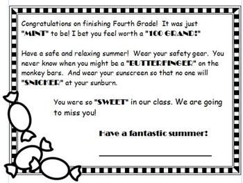 Sweeet End Of Year Student Goodbye Note  End Of Year