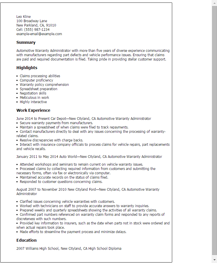 resume templates  automotive warranty administrator