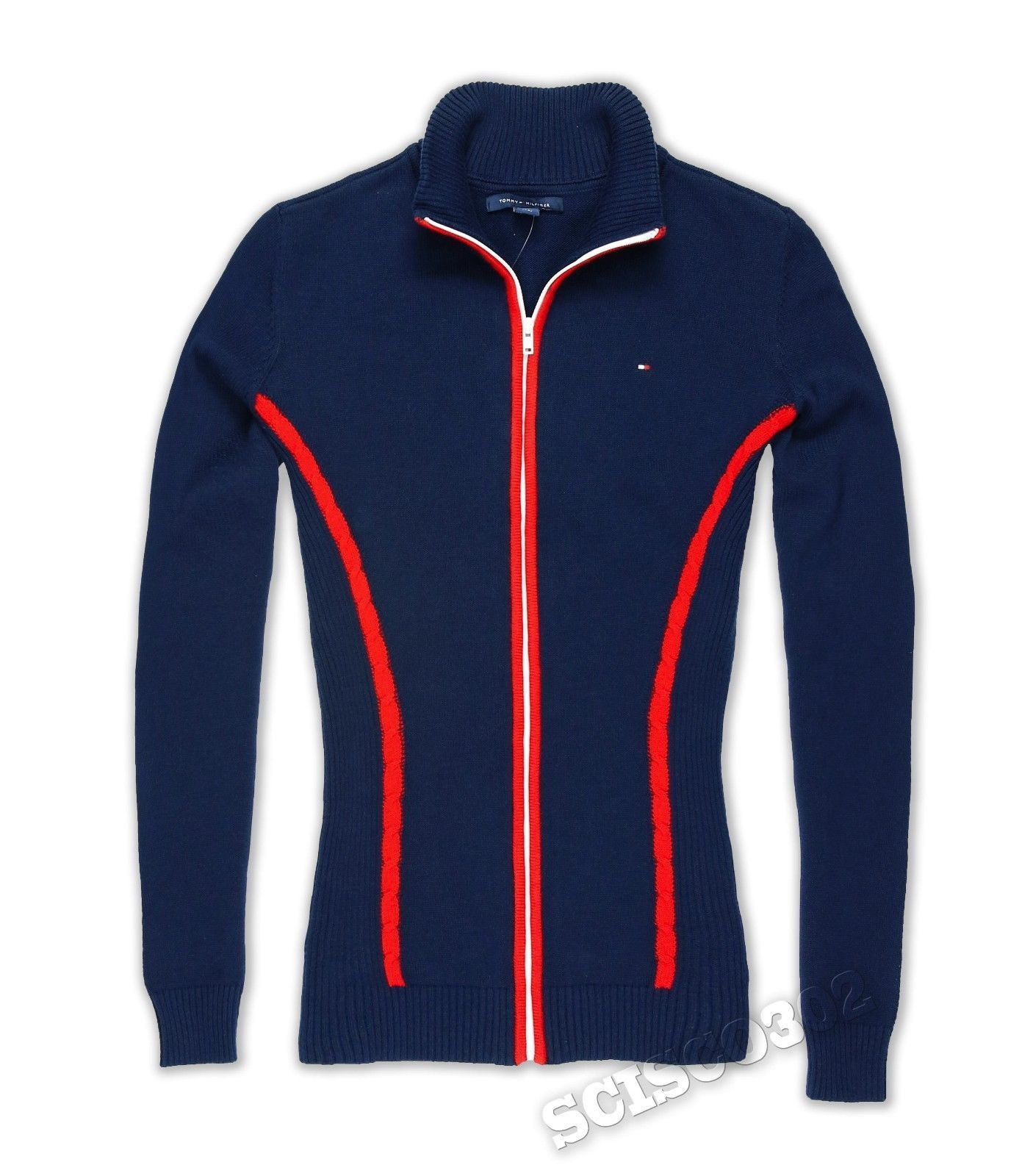 Womens Tommy Hilfiger Sweater Full Zip Navy Blue | women's ...