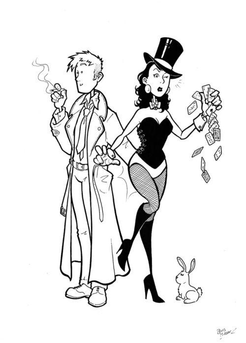 Constantine and Zatanna by Bevis Musson