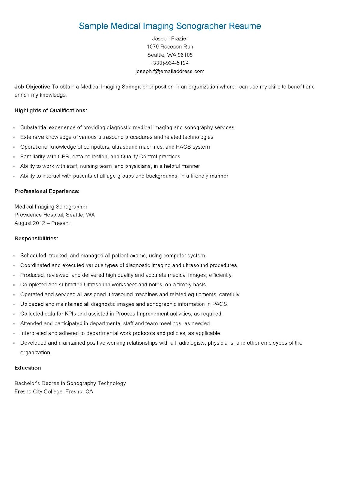 sample medical imaging sonographer resume