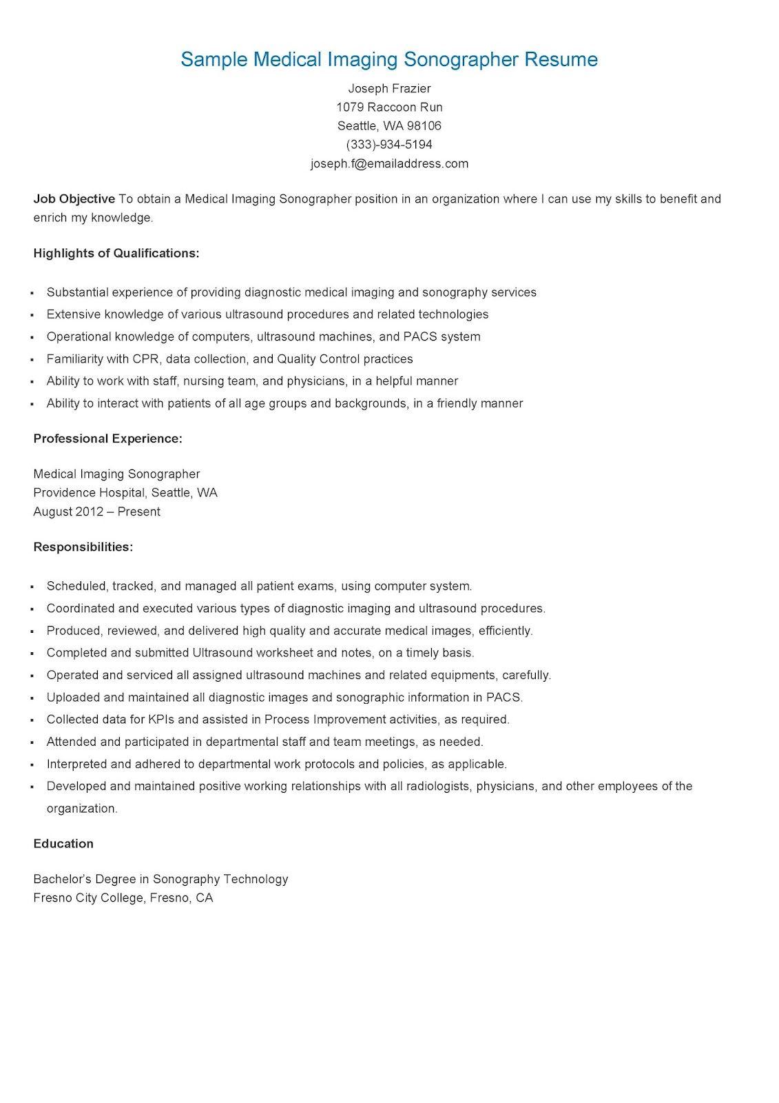 Sample Medical Imaging Sonographer ResumeResume Samples
