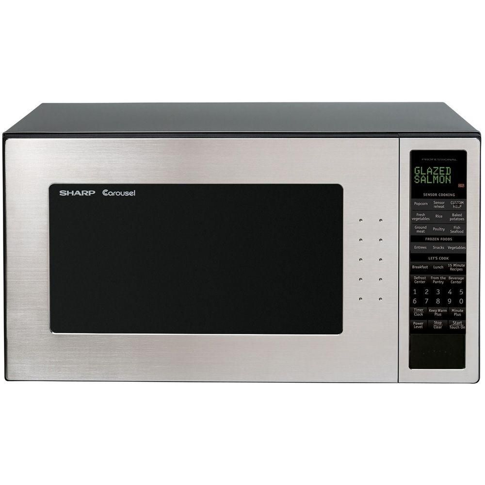 Sharp 2 0 Cu Ft Countertop Microwave In Stainless Steel With Sensor Cooking R530est The Home Depot Sharp Microwave Oven Countertop Microwave Oven Countertop Microwave
